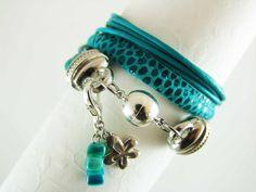 Wrap bracelet women nubuck turquoise  wrap by elfenstuebchen, €24.90