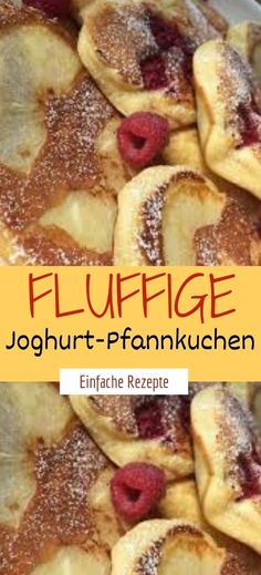 Fluffy yogurt pancakes- Fluffige Joghurt-Pfannkuchen Ingredients for the dough: 1 large cup of natural yoghurt 1 yoghurt cup of flour 1 pck. Best Pancake Recipe Fluffy, Pancake Recipe With Yogurt, Yogurt Pancakes, Fluffy Pancakes, Waffle Recipe Without Milk, Easy Waffle Recipe, Waffle Recipes, Pancake Healthy, Healthy Waffles