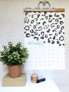 2017 Monthly Wall Calendar Bold Modern Chic by ChristineMarieB