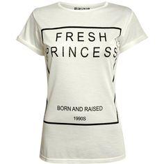 Pilot Fresh Princess Slogan T-Shirt (€6,93) ❤ liked on Polyvore featuring tops, t-shirts, shirts, white, crew neck shirt, cap sleeve t shirt, tee-shirt, pattern t shirt and crew shirt