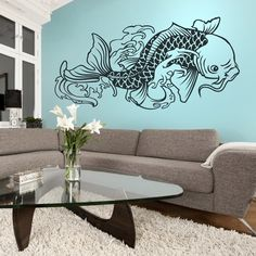 tattoo inspired koi fish wall decal large by beepart on Etsy, $80.00