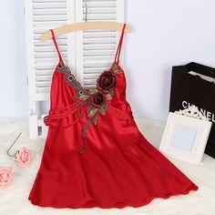 Sexy Women Floral Lace Strap Nightdress Faux Silk Dress Robe Sleepwear Female Nightgown
