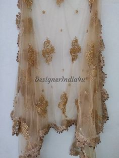 Designer Indian Traditional Golden Dupatta Chunni Stole Scarves embroiderd Net for Lehenga Suit Salwar Kameez for Women and Girls Party Wear Lehenga Suit, Lehenga Choli, Salwar Kameez, Churidar, Golden Dupatta, Girls Party Wear, Dress Indian Style, Indian Wear, Gold Embroidery