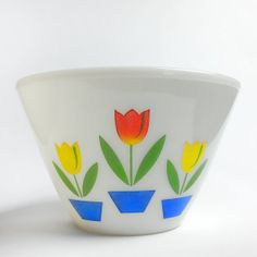Vintage Fire King Tulip Splash Proof Mixing Bowl available on Etsy