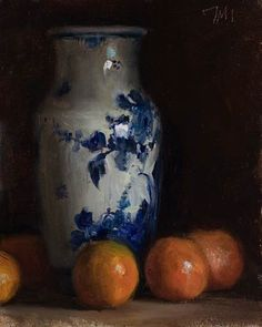 'Clementines and Delft vase' (2013) by Provence-based British painter Julian Merrow Smith. Oil on board, 15 x 19 cm. via the artist's site