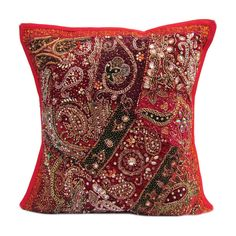 "16"" Indian Cotton Beaded Patch Work Handmade Traditional Pillow Cushion Cover p1 #JunedCraftPalace #ArtDecoStyle"