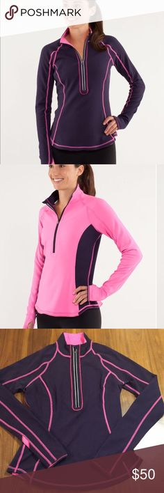 "Lululemon Run: U Turn Pullover Reversible 1/2 zip pullover. When we suit up for a chilly outdoor run, we want our base layer to be soft, warm and wicking. We made this fitted pullover out of brushed Running luon to be cozy against our skin and to move with us when we pick up the pace. Purple/pink. No Size tag/dot - use measurements as the best guide for fit. 15.5"" across bust. 23"" length. lululemon athletica Tops"