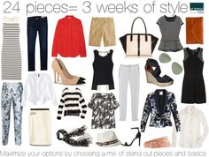 With only 24 pieces- create 3 WEEKS of outfits.  Perfect for packing for a trip or for busy mom's who don't have time to fuss with their wardrobes!  Iconic Styling shows you how to mix and match some stand out pieces with inexpensive basics to create effortless looks.