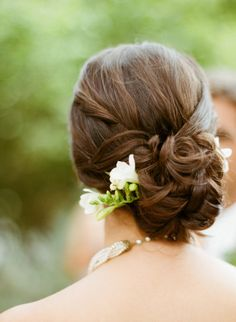#hairstyles twisted #chignon Photography by sylviegilphotography.com  Read more - http://www.stylemepretty.com/2013/09/12/santa-rosa-wedding-from-sylvie-gil-photography/