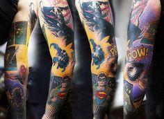 Chłopaki Pełna Spiderman Rękaw Tatuaż