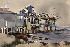 Dong Kingman - Cannery Row, Monterey, 1940, California art, original California watercolor art for sale, fine art print for sale, giclee watercolor print - CaliforniaWatercolor.com