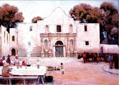 Chili Queens at the Alamo,chosen for display in the White House during the George W. Representing South Texas, Julian Onderdonk's famous Chili Queens at the Alamo has adorned a wall of the Oval Office Alamo San Antonio, American Impressionism, South Texas, Blue Bonnets, Places To See, Chili, Mexico, Queens, In This Moment