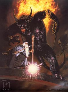 At the Bridge by Ted Nasmith from The Lord of the Rings. Gandalf and the Balrog.