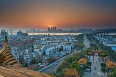 Sunset over the Yangtze river Taken from the Yellow Crane Tower in Wuhan China