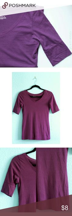 Mossimo Supply Co. | Quarter Sleeve V-Neck Top Purple quarter sleeve v-neck top. Great for layering. Worn once, in like-new condition. Fitted style. Size XS, true to size. PRICE IS FIRM. NO MODELING. NO TRADES. BUNDLE FOR DISCOUNT. Mossimo Supply Co. Tops