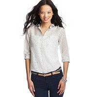 Petite Dot Print Cotton Silk Button Down Shirt - In a luxurious cotton silk blend, this polished pretty blouse gets detailed with a playful dot print – for lighthearted cute. Collared. Long sleeves. Button front. Patch pockets. Single button cuffs. Gathered beneath back yoke.