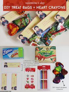 DIY Valentine Treat Bags & Recycled Heart Crayons via @sheenatatum