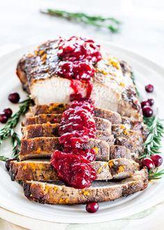This tender, flavorful Cranberry Pork Roast is super easy to prepare, yet looks and tastes like a gourmet meal. A holiday winner! Sauce Recipes, Pork Recipes, Gourmet Recipes, Cooking Recipes, Cooking Ideas, Chicken Recipes, Roast Pork Fillet, Pork Tenderloin Recipes, Pork Loin
