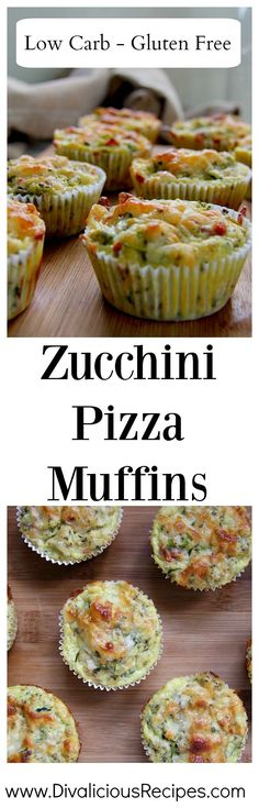 Zucchini pizza muffins baked with coconut flour and flavoured as you would a pizza. A light taste of pizza in savoury muffin form.  Recipe - http://divaliciousrecipes.com/2017/05/17/zucchini-pizza-muffins/