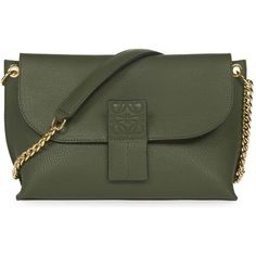 Loewe Avenue leather cross-body bag ($995) ❤ liked on Polyvore featuring bags, handbags, shoulder bags, leather cross body purse, green leather purse, leather crossbody, embossed leather handbags and crossbody purses