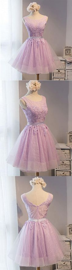 Light purple homecoming dress, lace homecoming dress,pretty homecoming dresses, short a-line homecoming dress,PD210305 - Thumbnail 1