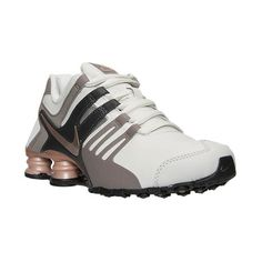 Nike Women's Shox Current Running Shoes ($125) ❤ liked on Polyvore featuring shoes, athletic shoes, grey, grey leather shoes, grey evening shoes, leather athletic shoes, athletic running shoes y grey running shoes