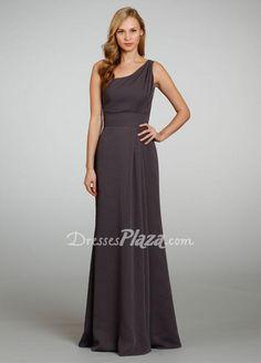 Dark Grey Chiffon Bridesmaid Dress at Dressesplaza.com