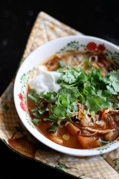Healthy Chicken Tortilla Soup =