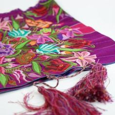Zinacantán Purple Embroidered Rebozo Shawl by Zinnia Folk Arts Mexican Textiles, Mexican Folk Art, Zinnias, Shawl, Vintage Outfits, Best Gifts, Artisan, Purple, Handmade