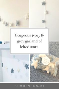 Beautiful grey and white star garland - lovely Christmas decoration for more neutral rooms. Also would be perfect in a nursery or toddler bedroom. #affiliate