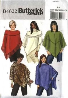 Sewing Coat, Sewing Clothes, Diy Clothes, Fleece Poncho, Wool Poncho, Fleece Projects, Easy Sewing Projects, Poncho Pattern Sewing, Sewing Patterns