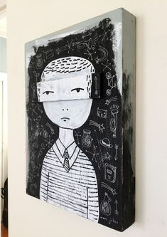 Vision By Marc Johns, mixed media on cradled wooden panel, inches, the extra piece of wood that's across the eyes Original Artwork, Original Paintings, Artsy Fartsy, Painting & Drawing, Cool Art, Mixed Media, The Originals, Drawings, Creative