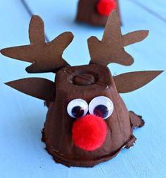 Rudolf rénszarvas tojástartóból - kreatív ötlet Mikulásra