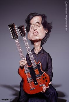 "CARICATURAS DE FAMOSOS: ""Jimmy Page"" por Sebastián Cast"