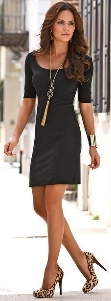 Need a simple black dress love the leopard touch