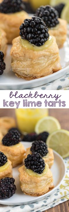 Blackberry Key Lime Tarts - an easy 3 ingredient recipe that's perfect for a party! #puffpastry