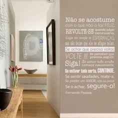 Adesivo de Parede Frase Fernando Pessoa Branco Unico Normal