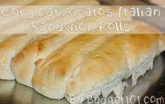 Copycat Amato's Italian Sub Rolls - Food Food Food - Sandwich Recipes Sandwich Roll Recipe, Homemade Sandwich, Sub Rolls Recipe, Bun Recipe, Dough Recipe, Sandwich Recipes, Restaurant Dishes, Restaurant Recipes, Dinner Recipes