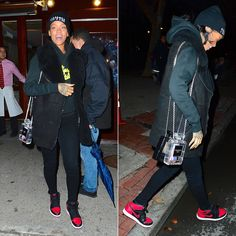 Rihanna wearing Trapstar Irongate hoodie, Billionaire Girls Club script chaser hoodie, Air Jordan 1 sneakers, Chanel perfume shaped bags