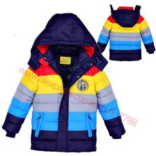 Winter 2016 Boys Coat and Jackets Children Clothing,hooded Down Coat Girls Boys Coat Striped Outerwear Jackets for Christmas(China (Mainland))