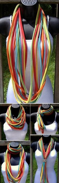 T-Shirt Necklace Scarf – I keep meaning to do this since I saw Bree make one a couple years ago...