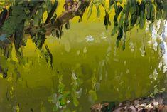Jan de Vliegher I 2014 Sunset Landscape, Landscape Art, Landscape Paintings, Pond Painting, Master Of Fine Arts, Green Paintings, Contemporary Landscape, Types Of Art, Large Art