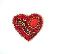 Hey, I found this really awesome Etsy listing at https://www.etsy.com/listing/262338723/heart-brooch-red-bead-embroidered-brooch