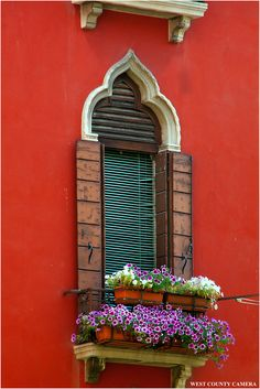 Venice red house, arched window, Flower box / By West County Camera