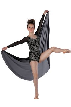 15531 Black Magic Woman | Lyrical Contemporary Dance Costumes | Dansco 2015 | Silver glitter printed black velvet short unitard with black mesh sleeves and attached back skirt.