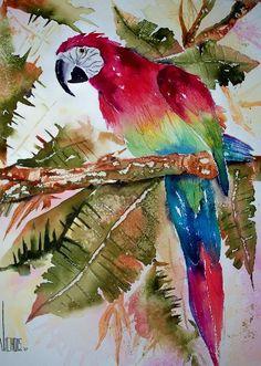 Parot Jungle by David Nichols .. medium: watercolor