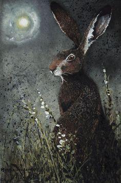 """Moongazer"" by Maggie Vandewalle - Hase Hare Illustration, Illustrations, Rabbit Art, Jack Rabbit, Bunny Art, Totems, Animal Paintings, Tree Paintings, Street Art"