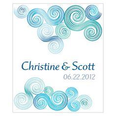 Blue Swirl Personalized Wedding Favor Tags Beach