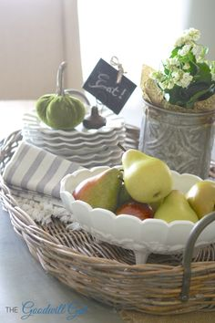 Footed Milk Glass Bowl filled with pears for the fall season.  #thrift #decor #Goodwill #centerpiece