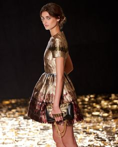 Taylor Hill wear Valentino Angel Wings Brocade Fit-And-Flare Dress for Valentino 2015 fall runway collection